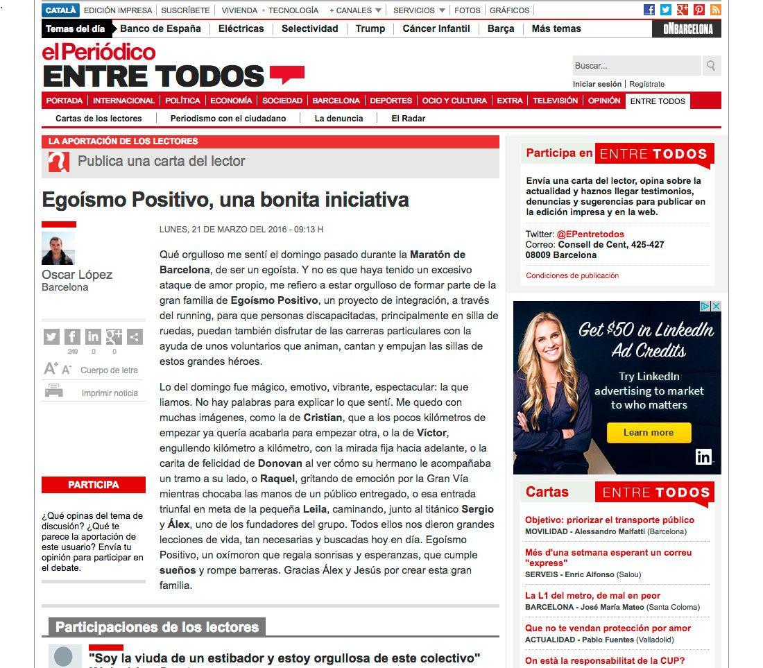 CARTA DEL LECTOR EL PERIÓDICO